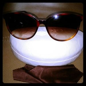Coach Burgundy Tortoise Cat eye Sunglasses